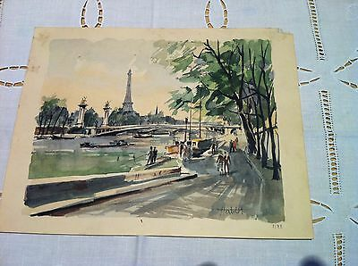 "Franz Herbelot ""Le Pont Alexandre III"". Watercolour Lithograph Signed 1940's."