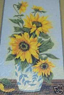 Sunflowers In Blue and White Pot Tapestry Needlepoint Canvas Margot