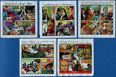 Zorro 5 pcs. Chewing / Bubble Gum Wrappers.