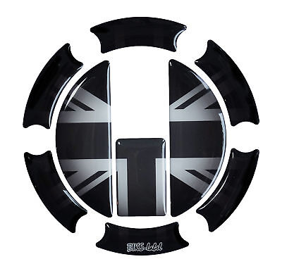 Tankdeckel 3D Pad Union Jack Silver Flagge 650004 universell für Triumph Tanks