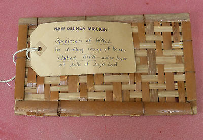 Unusual Small Vintage Woven Wall Sample Papua New Guinea Mission Old Label Nr!