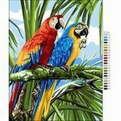 """Macaws In The Jungle Tapestry Needlepoint Canvas Royal Paris 14.75 x 19"""""""