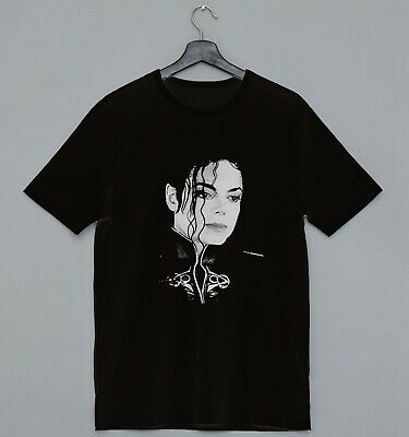 Michael Jackson Face Tshirt Cool Short Sleeve Unisex Black T-Shirt Ideal Gift