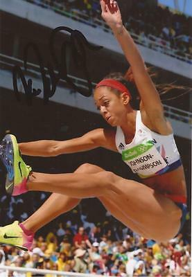 ATHLETICS: KATARINA JOHNSON-THOMPSON SIGNED 6x4 RIO 2016 PHOTO+COA *PROOF*