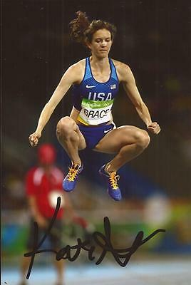ATHLETICS: KATE GRACE SIGNED 6x4 RIO 2016 ACTION PHOTO+COA *USA*