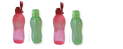 Tupperware Aquasafe Flip Top Fliptop Water Bottle Set of 4, 500ml (17 Oz)  New