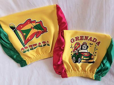2pc Grenada Headrest CAR Cover Seat Slip Flag Grenadines Dove Caribbean George