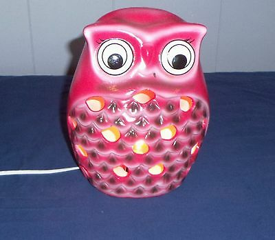 "Owl Electric Night Red/pink Lamp 8"" Tall"