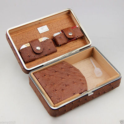 Luxury Ostrich Embossed Leather Cedar 4 Tube Cigar Case Humidor Gift Set