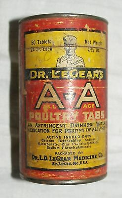 Vintage Dr LeGear's AA All Age Poultry Tabs Full Can