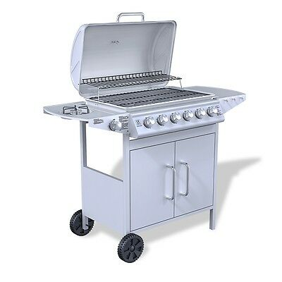 NEW Stainless Steel Gas Barbecue BBQ Grill 6 + 1 Side Burner Silver Outdoor