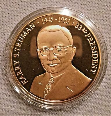 Harry S. Truman Commemorative Coin Cu, Layered in 24K Gold Am Mint w/Cert 08451