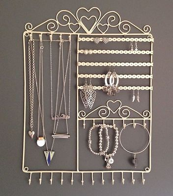 Large Cream Metal Wall Jewellery Display Stand Holder Earrings Necklaces  Hooks