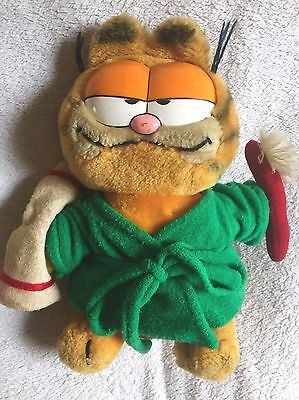 Rare Vintage 1981 Garfield The Cat Plush Soft Toy Bathtime Toothbrush Teddy 9""