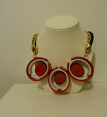 Vintage 1960's Necklace,plastic,red,black And White,  Retro