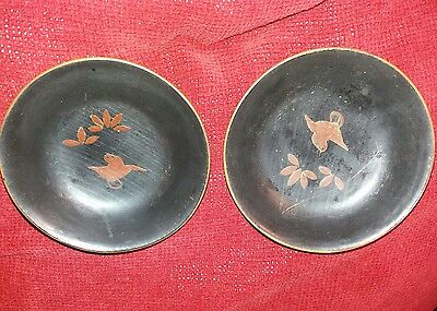 Two Antique Oriental Lacquer Bowls -
