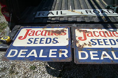 "vintage Jacques Seeds Dealer Farm 24"" Embossed Double Sided Metal 2 Signs"