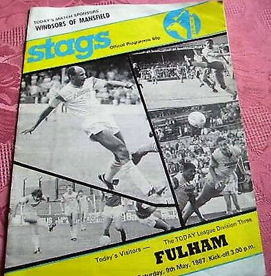 Mansfield Town  V  Fulham 1986-87