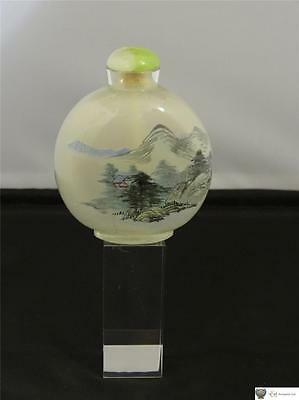 Chinese Interior Painted Glass Snuff Bottle, Tinted Glass Stopper, 20th Century