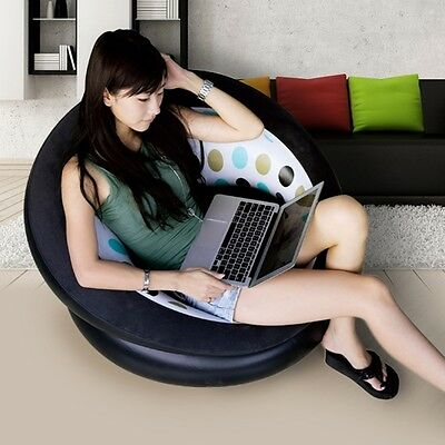 Newly Lazy Bean Bag Single Cylinder Inflatable Sofa Round Relaxing Couch Well