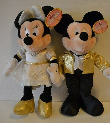 Disney on Ice Mickey & Minnie Mouse Stuffed Plush White Gold Outfit Tag Attached