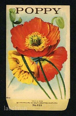 POPPY, Stock Antique Seed Packet, Country Store, 237