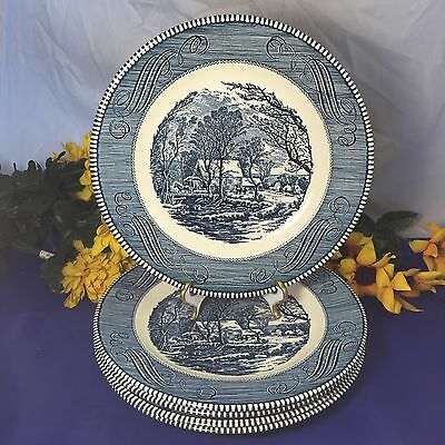"""Royal China Blue CURRIER and IVES The Old Grist Mill Dinner Plates 10"""" Set Of 4"""