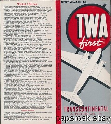 1938 TWA Airlines Time Table