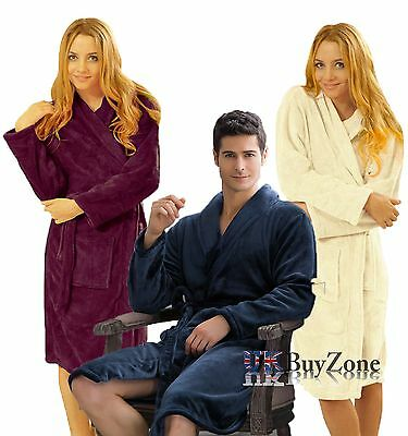 Ladies Mens Luxury Coral Fleece Bathrobe Dressing Gown Bath Robe Housecoat Wrap