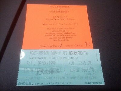Northampton V AFC Bournemouth 2/4/1999 Ticket & Supporters Club Coach Ticket