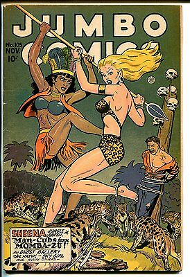Jumbo #105 1947-Fiction House-spicy jungle girl fight cover-Good Girl art-VG+