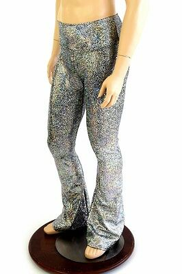 Mens Silver/Black Shattered Glass Bootcut Spandex Disco Rave Pants Made To Order