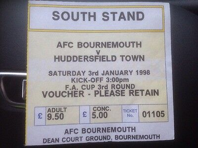 AFC Bournemouth V Huddersfield Town 3/1/1998 F A Cup 3rd Round Ticket