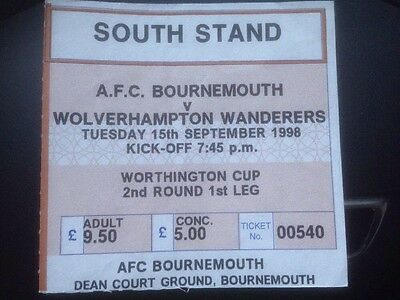 Bournemouth V Wolverhampton Wanderers Wolves 15/9/1998 Ticket Worthington Cup