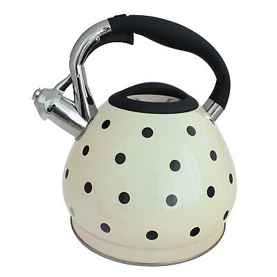 Cream Polka Dot 3.5 Litre Stainless Steel Whistling Kettle Gas & Electric Hobs