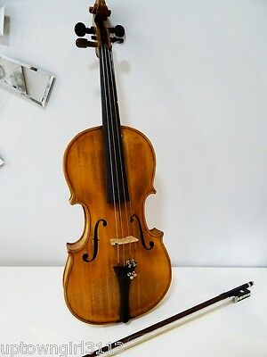 folk FIDDLE VIOLIN vintage antique HAND-CRAFTED inlay abalone MOP Wood Case BOW