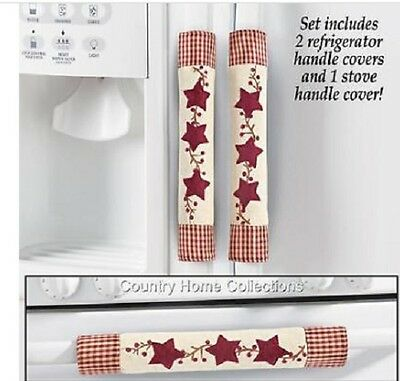 Country Primitive Kitchen Refrig and Stove handle covers 3 Pc. Set