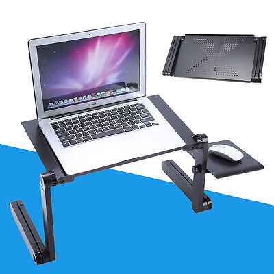 Adjustable Portable Laptop Table Stand Lap Bed Tray Computer Desk w/ Mouse Board