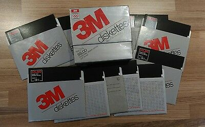 "10 x 5.25"" inch floppy discs boxed 3M brand 744d-0 SS DD B drive 133mm 5.25 pc"