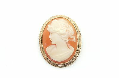 Vintage 1973 Ladies 9ct Yellow Gold Cameo Pin Brooch