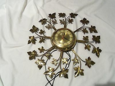 Vintage United Electric Wall Hanging Clock Gold Leaves Round Retro Works