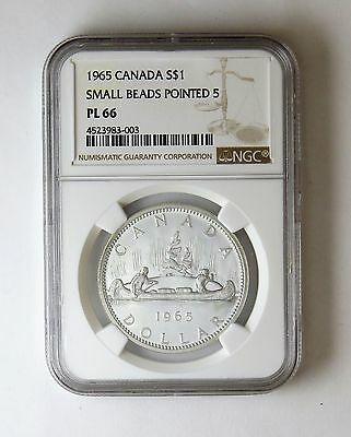 1965 S$1 Canada Silver Dollar Small Beads Pointed 5 NGC PL 66