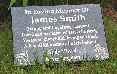 Memorial Stone Grave Marker Memorial Plaque ( Personalised )   Free Postage