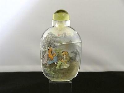 Antique Restored Chinese Interior Painted Glass Snuff Bottle, Glass Stopper,1900