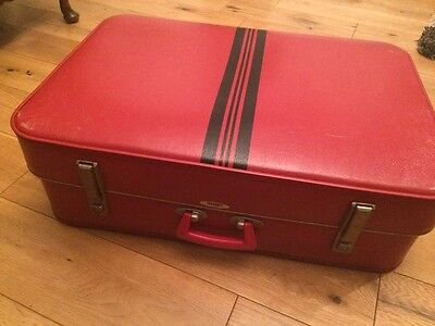 Vintage retro red 1960's FOXCROFT by ANTLER suitcase large travel case luggage