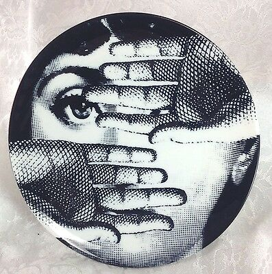 "Fornasetti Hands Over Face 8"" Plate Dish Reproduction Art Nouveau Woman"