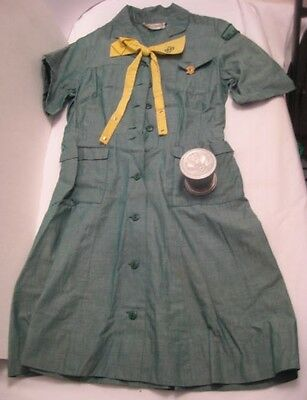 Old Vintage Girl Scout Uniform Dress w/ Brass Pin & Collapsible Drinking Cup