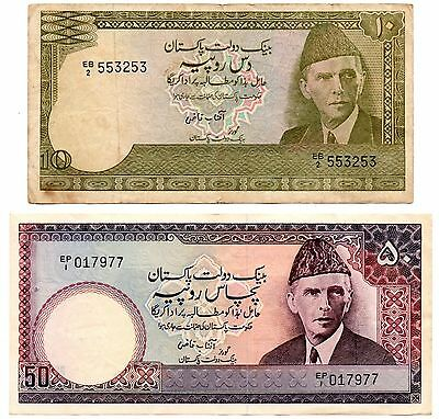 Pakistan 10 and 50 Rupees 1983-86 - Lot of 2