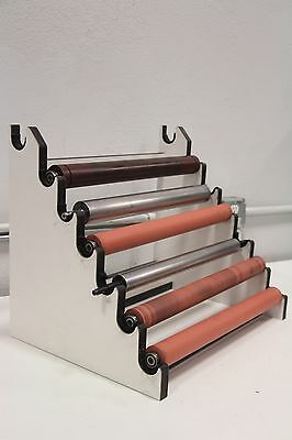 Lot of (6) Printing Press Rubber Chrome Rollers with Stand