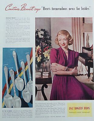 1939 PRINT AD 1847 ROGERS BROS. SILVERPLATE featuring star, Constance Bennett